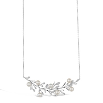 Sterling Silver Cubic Zirconia & Pearl Branch Necklet