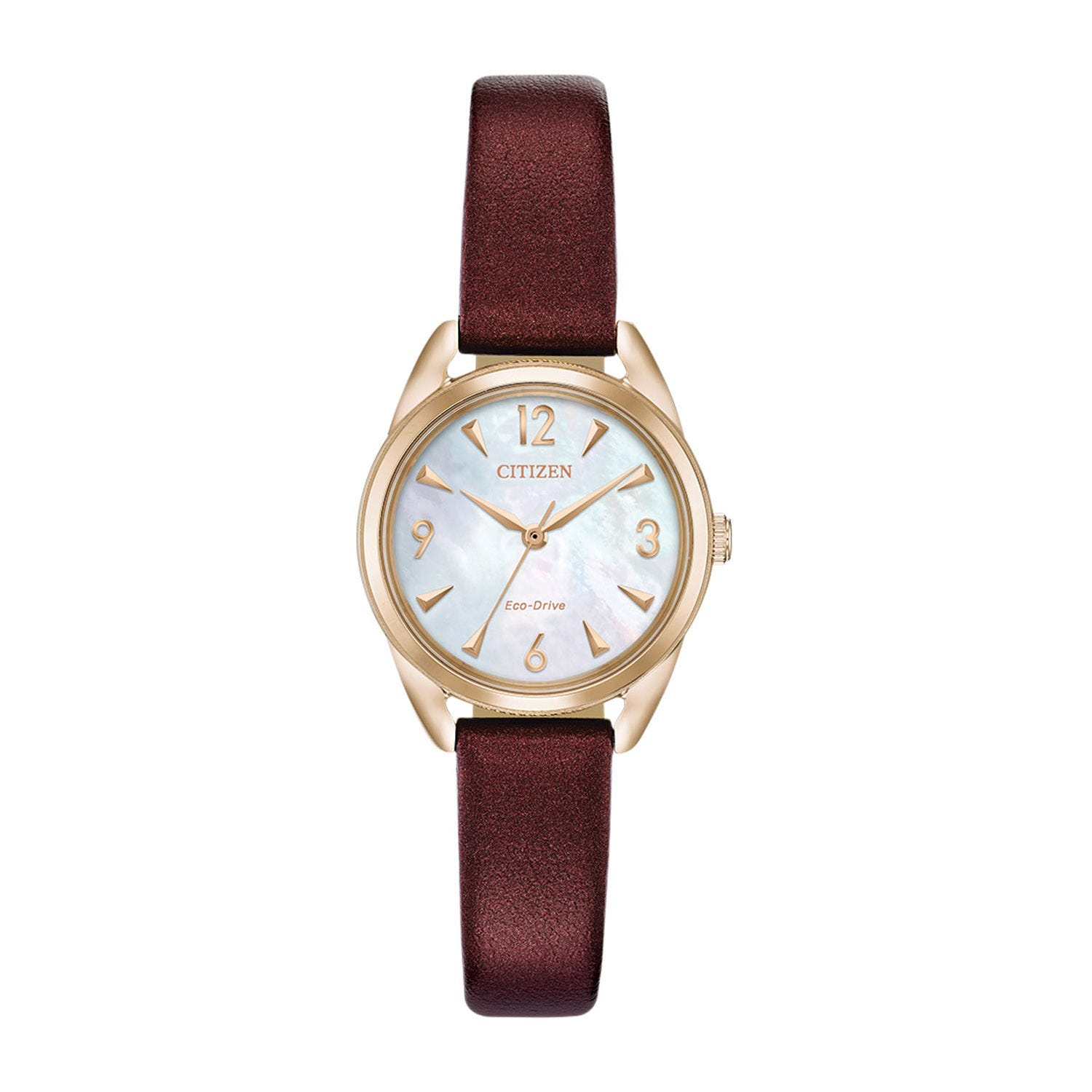 Citizen Mini Drive Burgundy & Mother-of-Pearl Vegan Leather Ladies' Watch