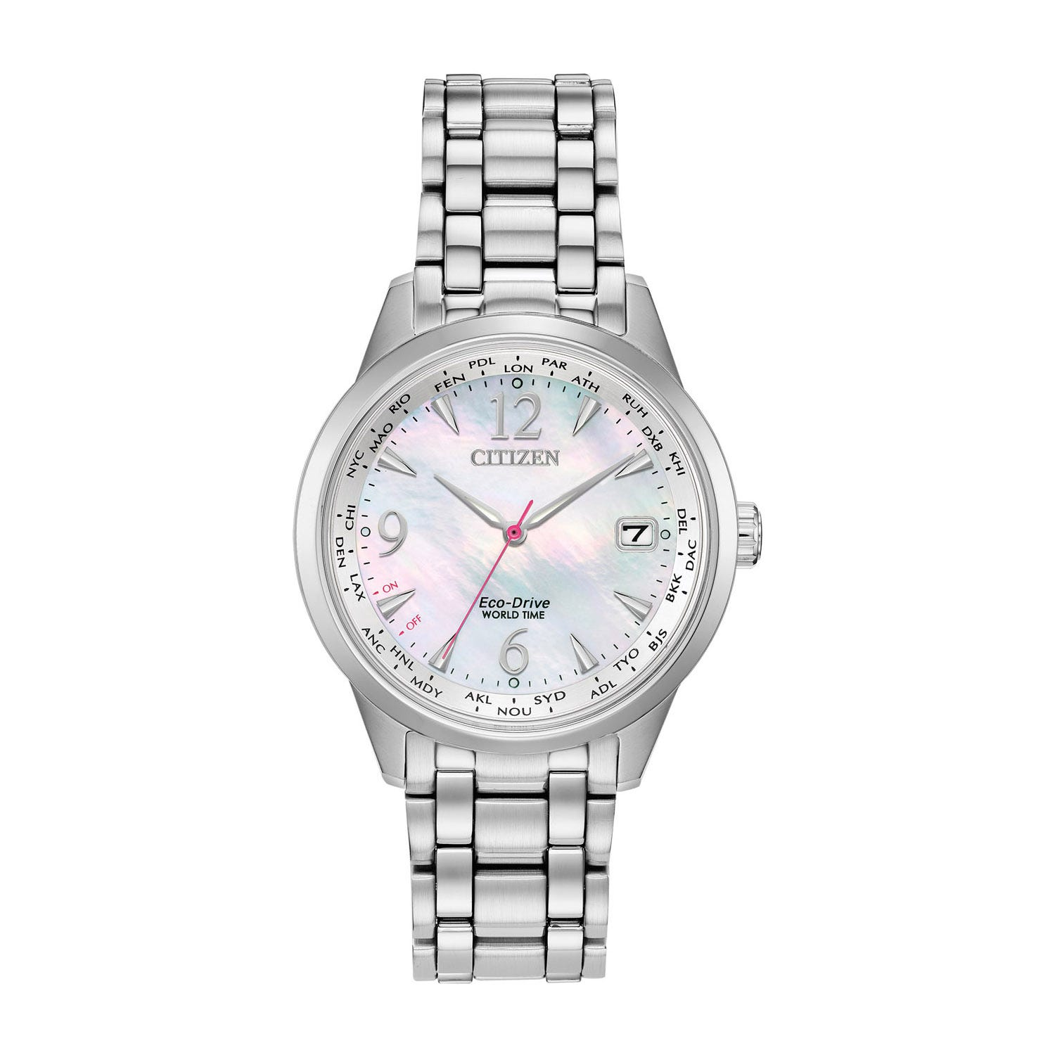 Citizen Eco World Time Perpetual Calendar Stainless Steel & Mother-of-Pearl Ladies' Watch