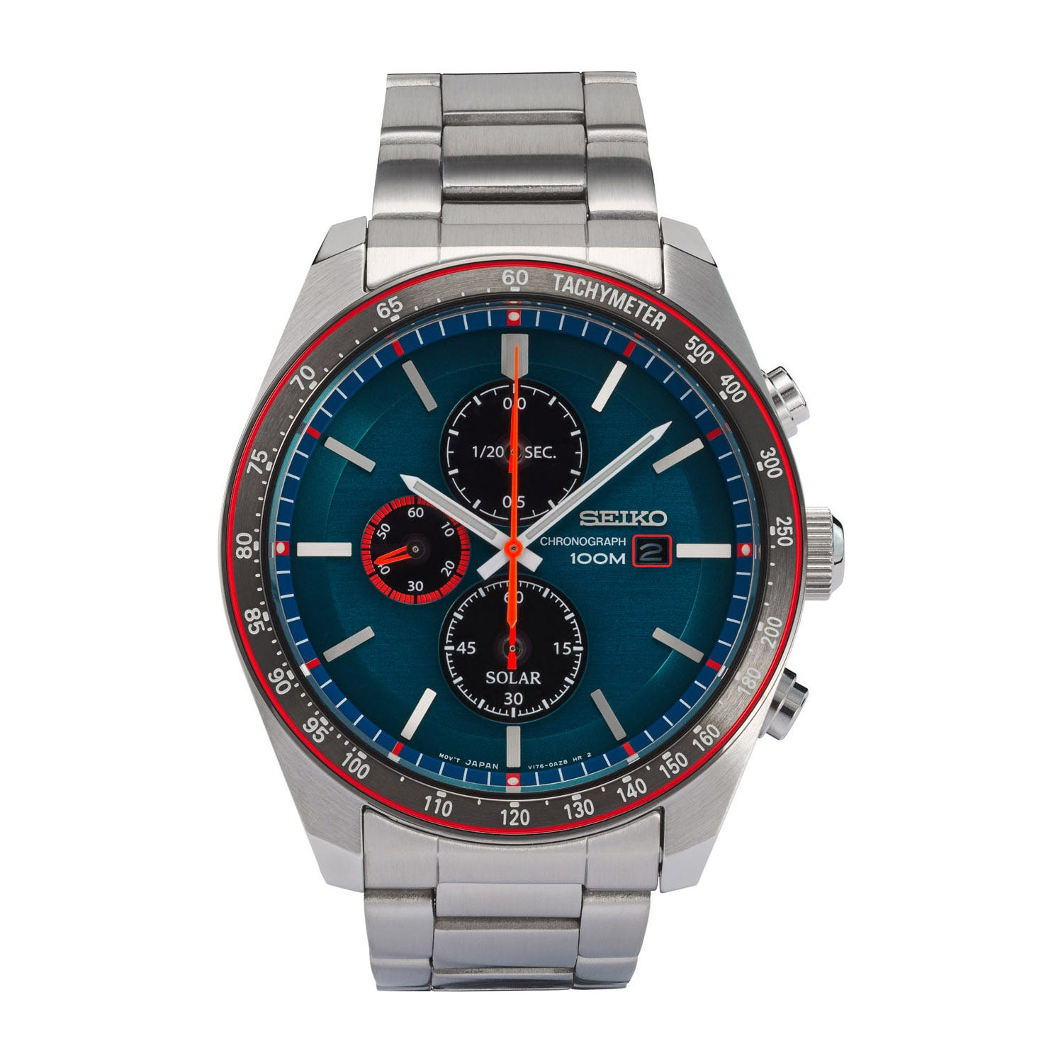 Seiko Solar Chronograph Turquoise & Steel Men's Watch