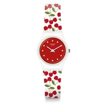 Swatch Childrens and Ladies Quartz Multi Colour Strap Red Dial Cherry Watch