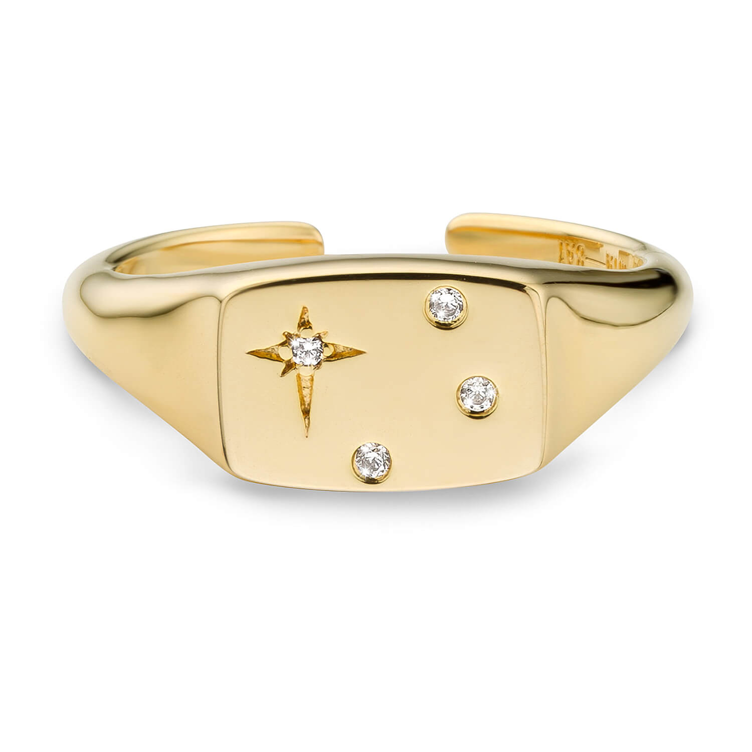 Mya Bay Gold Plated Cubic Zirconia Star Signet Ladies Ring