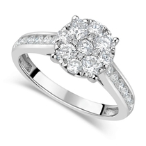 18ct White Gold 1.00ct Diamond Round Cluster & Shoulders Ring