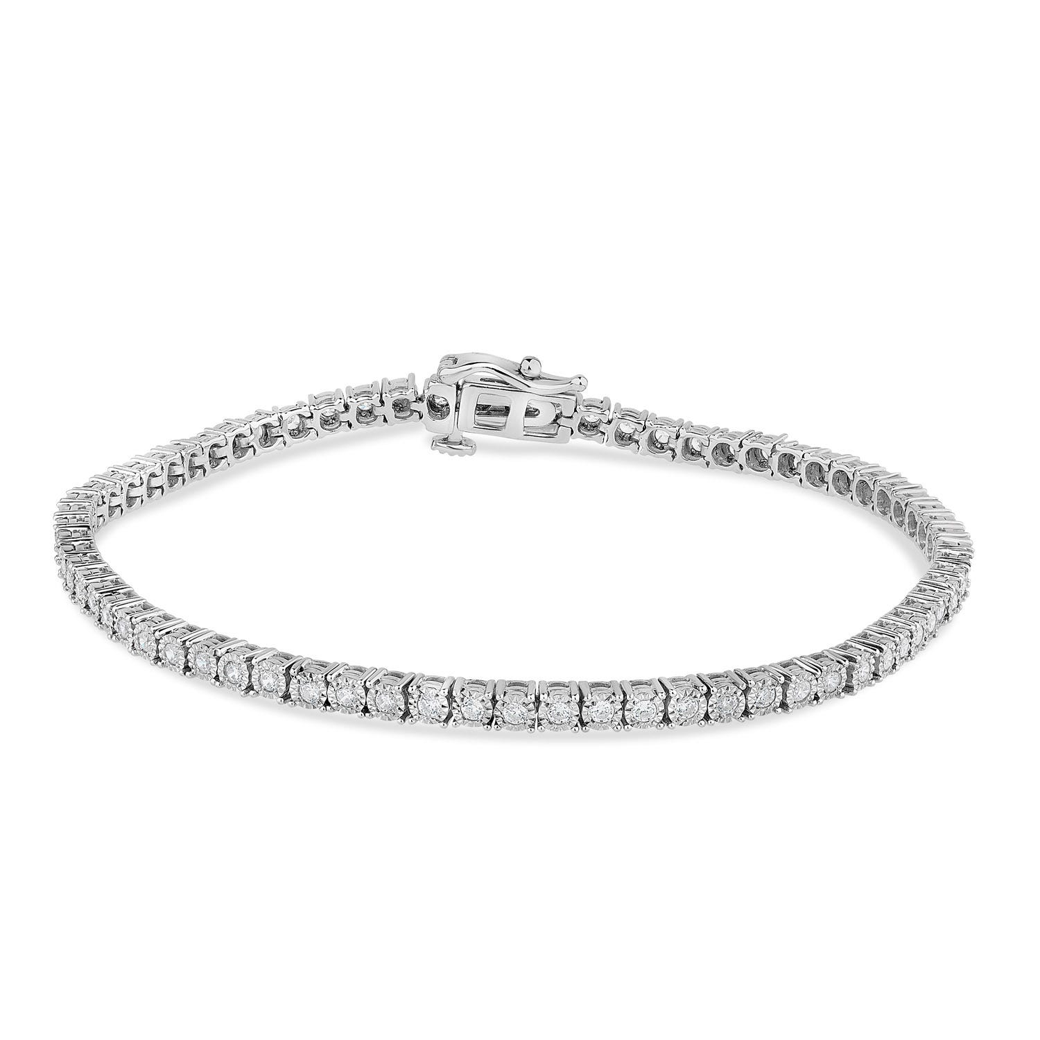 9ct White Gold 2.00ct Diamond Illusion Tennis Bracelet