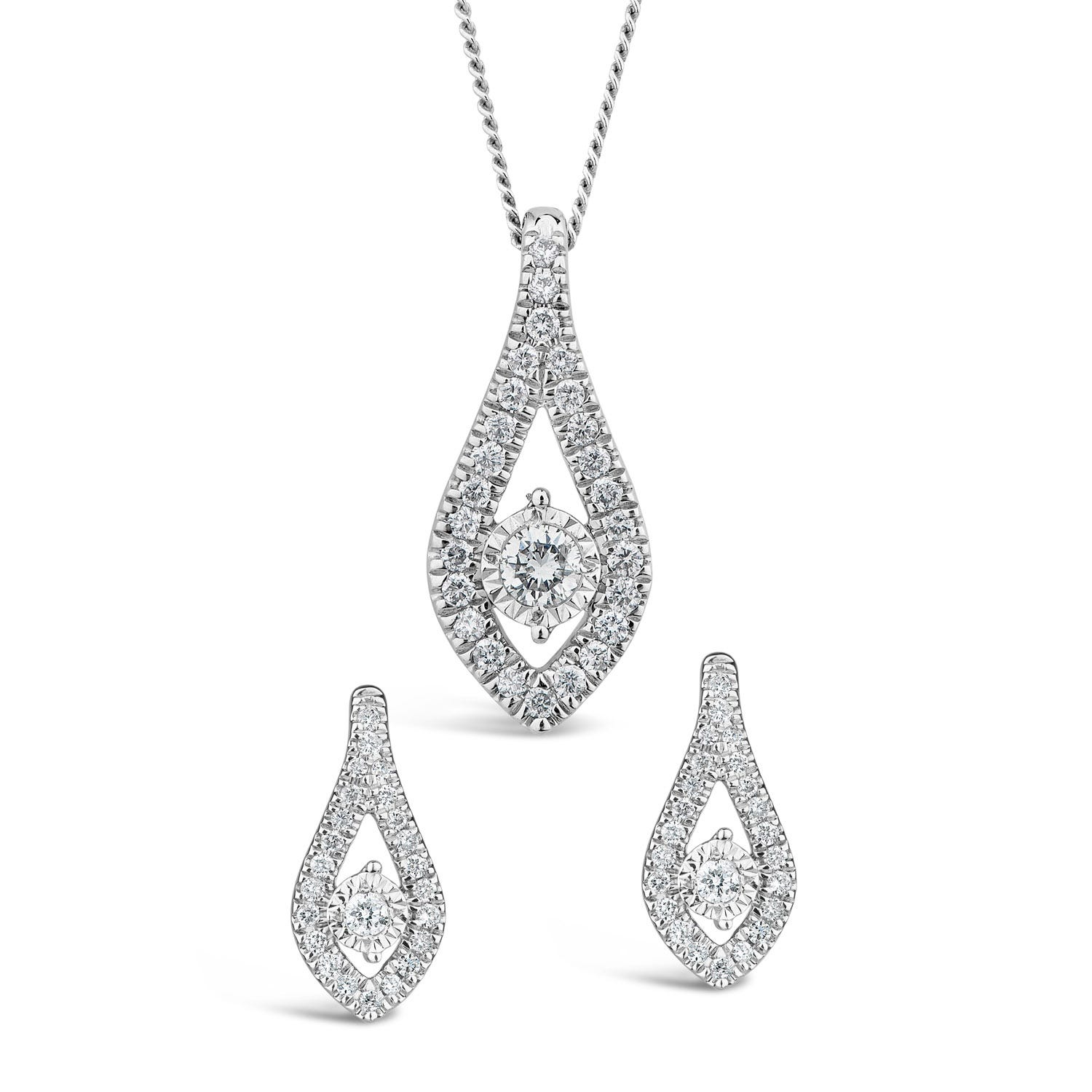 9ct White Gold 0.34ct Diamond Teardrop Earrings & Pendant Set
