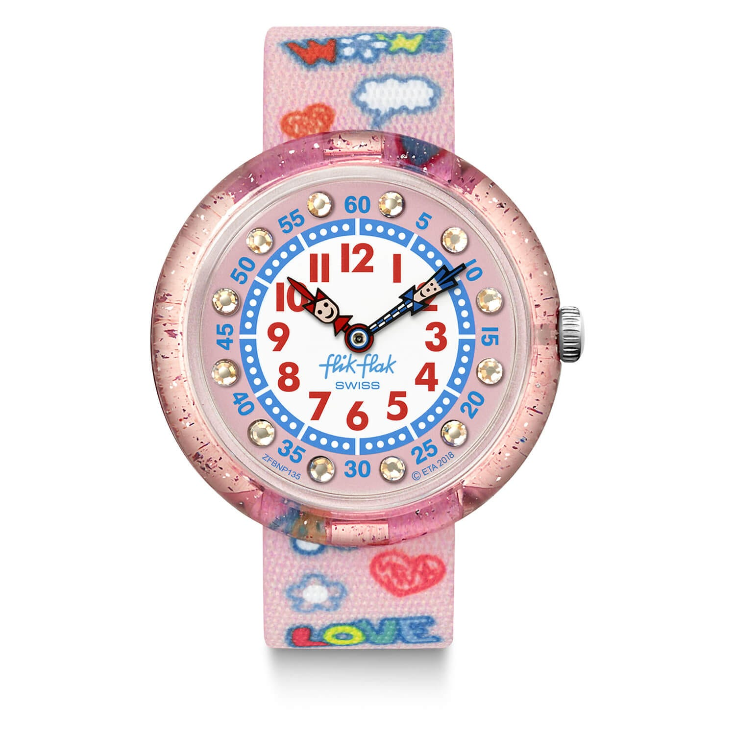 Flik Flak Childrens Quartz Pink Strap Pink and White Dial Watch