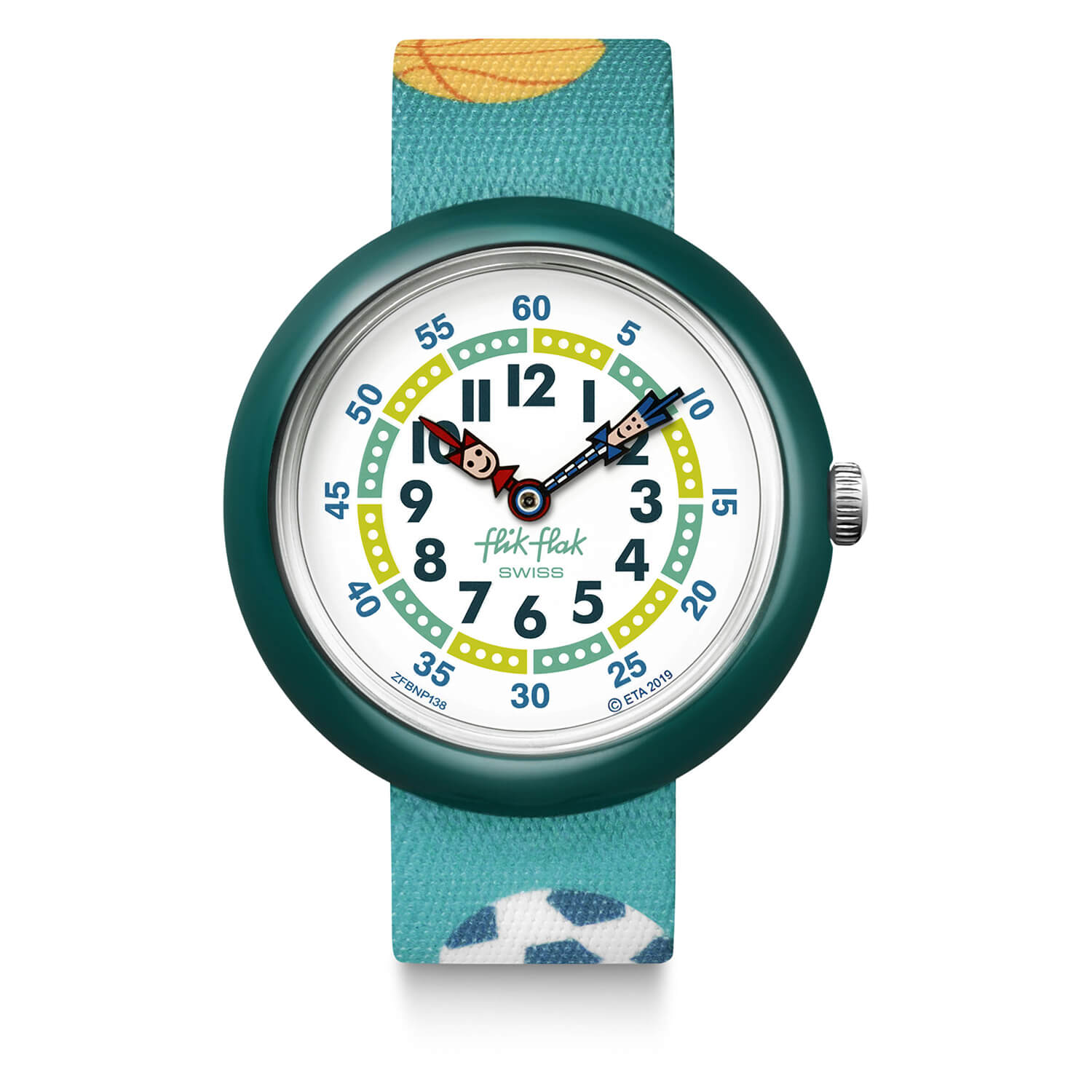 Flik Flak Childrens Quartz Turquoise Strap White Dial Watch