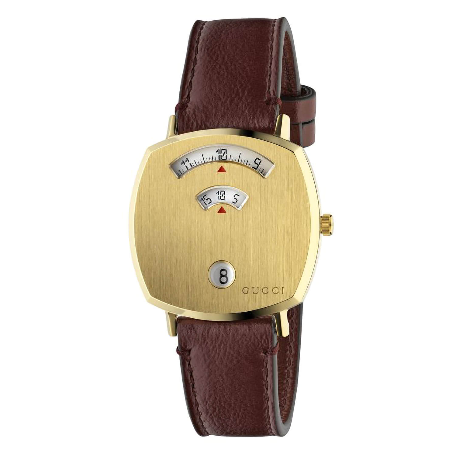 Gucci Grip GG Yellow Gold PVD Bordeaux Leather 35mm Watch
