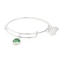 Alex And Ani Silver-Tone Peridot Swarovski Crystal August Birthstone Bangle