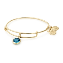 Alex And Ani Gold-Tone Blue Zircon Swarovski Crystal December Birthstone Bangle