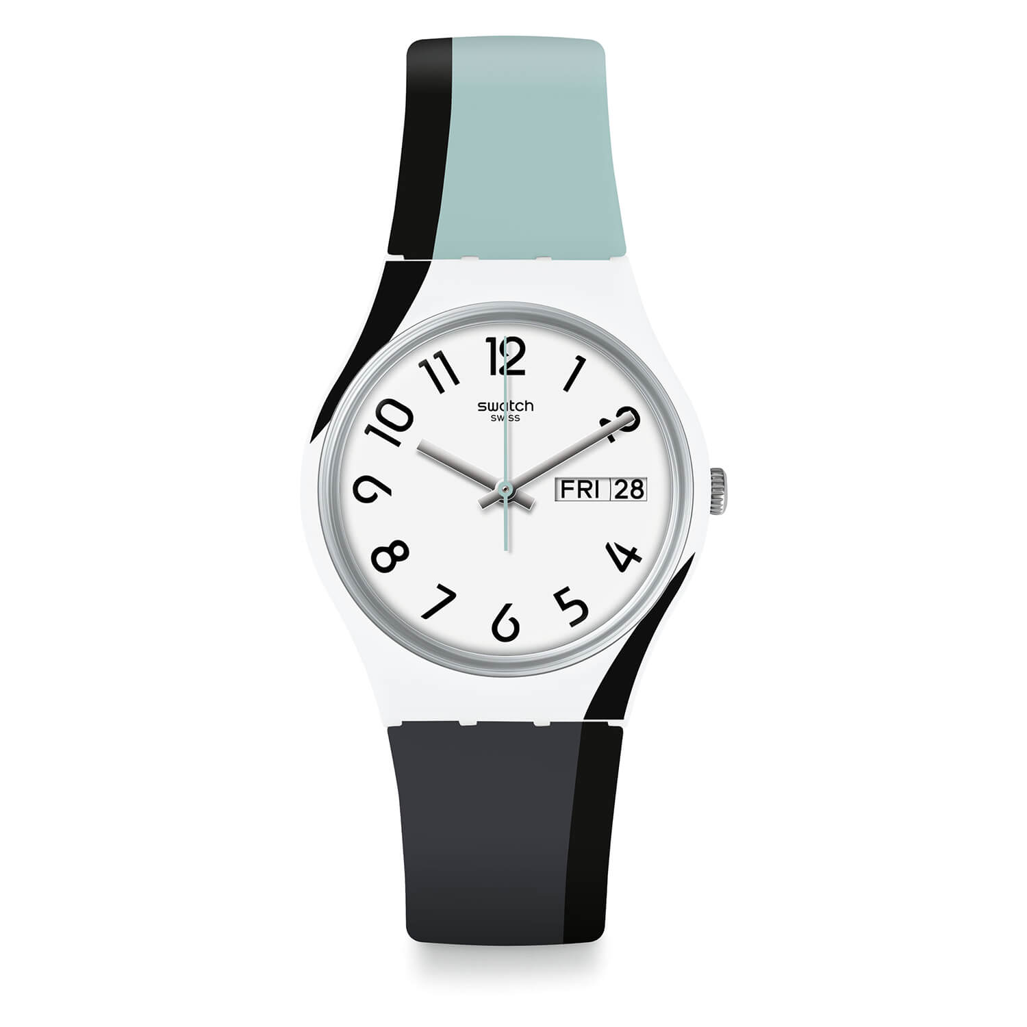 Swatch Unisex Quartz Grey, Blue, Black Strap White Dial Watch