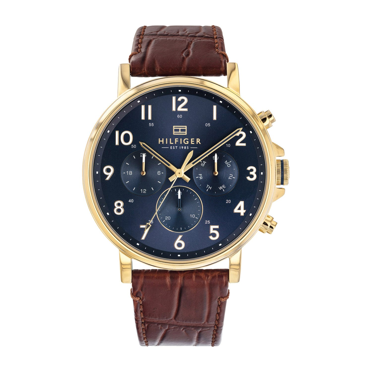 Tommy Hilfiger Blue Chronograph Dial & Yellow Gold-Toned Case Men's Watch