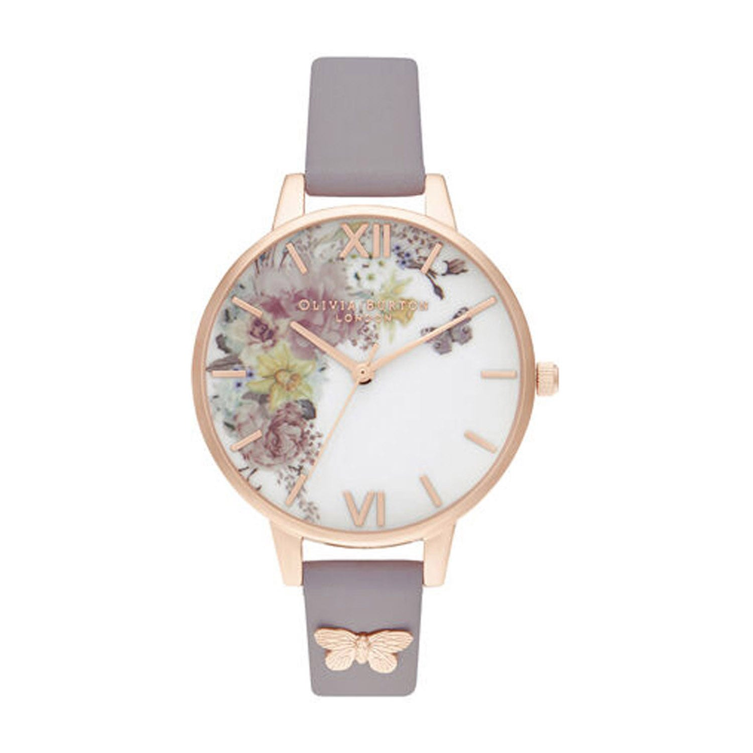 Olivia Burton Enchanted Garden Rose Gold-Toned & Grey Lilac Ladies' Watch