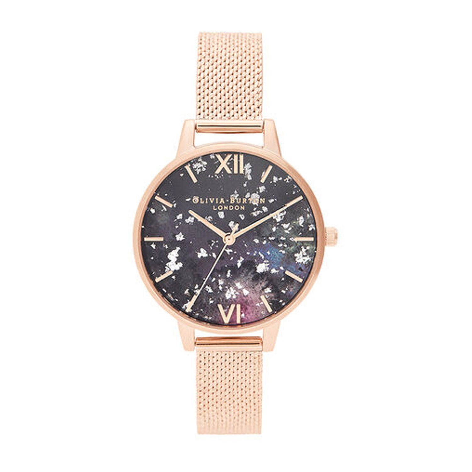 Olivia Burton Celestial Rose Gold-Toned Boucle Mesh Bracelet Ladies' Watch