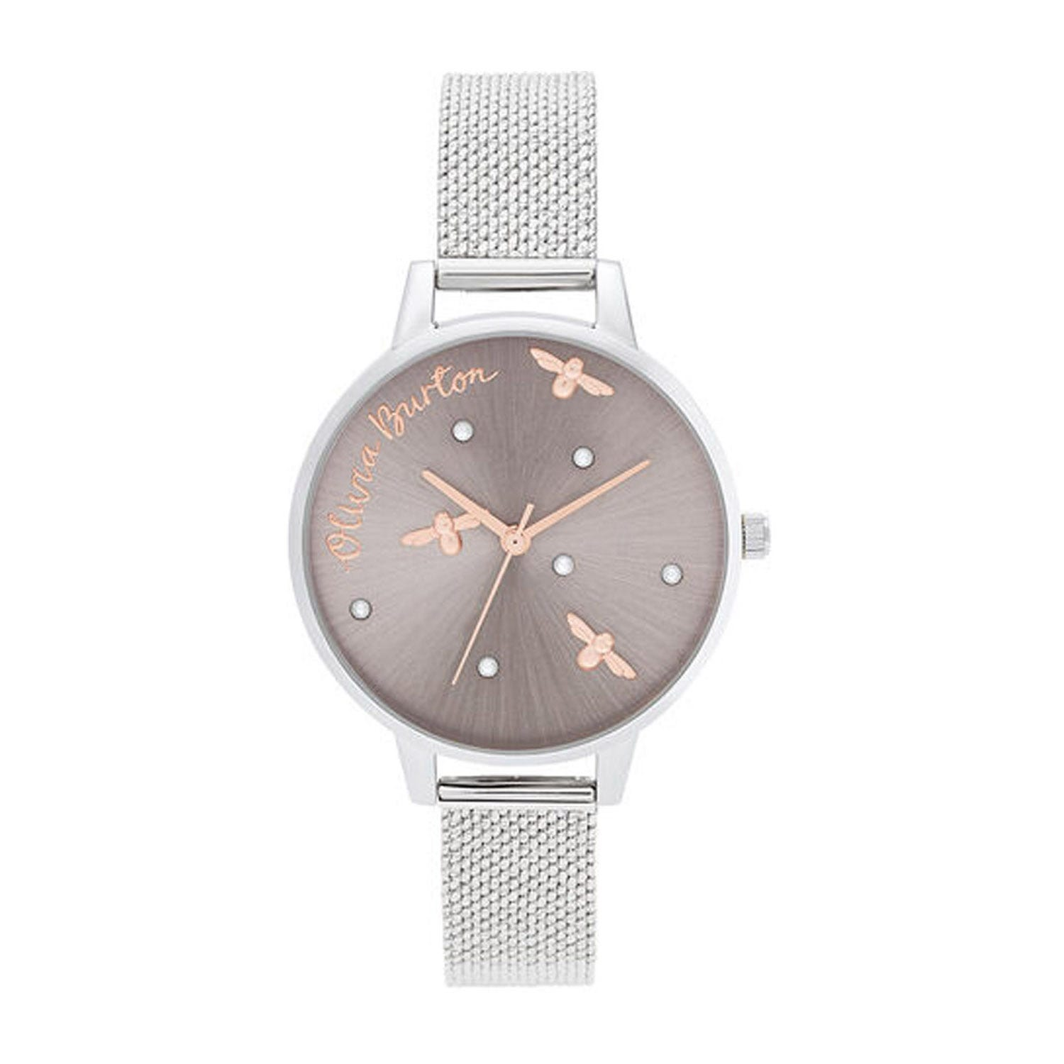 Olivia Burton Pearly Queen Rose Gold-Toned & Silver-Toned Mesh Bracelet Ladies' Watch