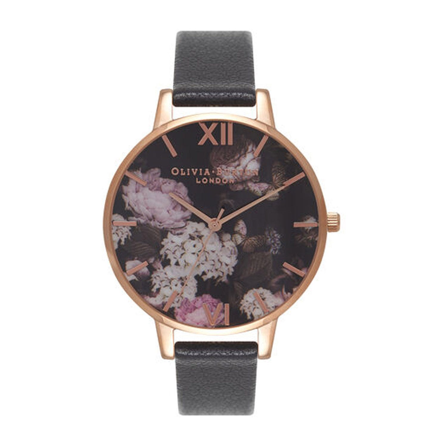Olivia Burton Signature Floral Rose Gold-Toned & Black Leather Ladies' Watch