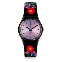 Swatch Unisex Quartz Black & Floral Strap Dial Watch