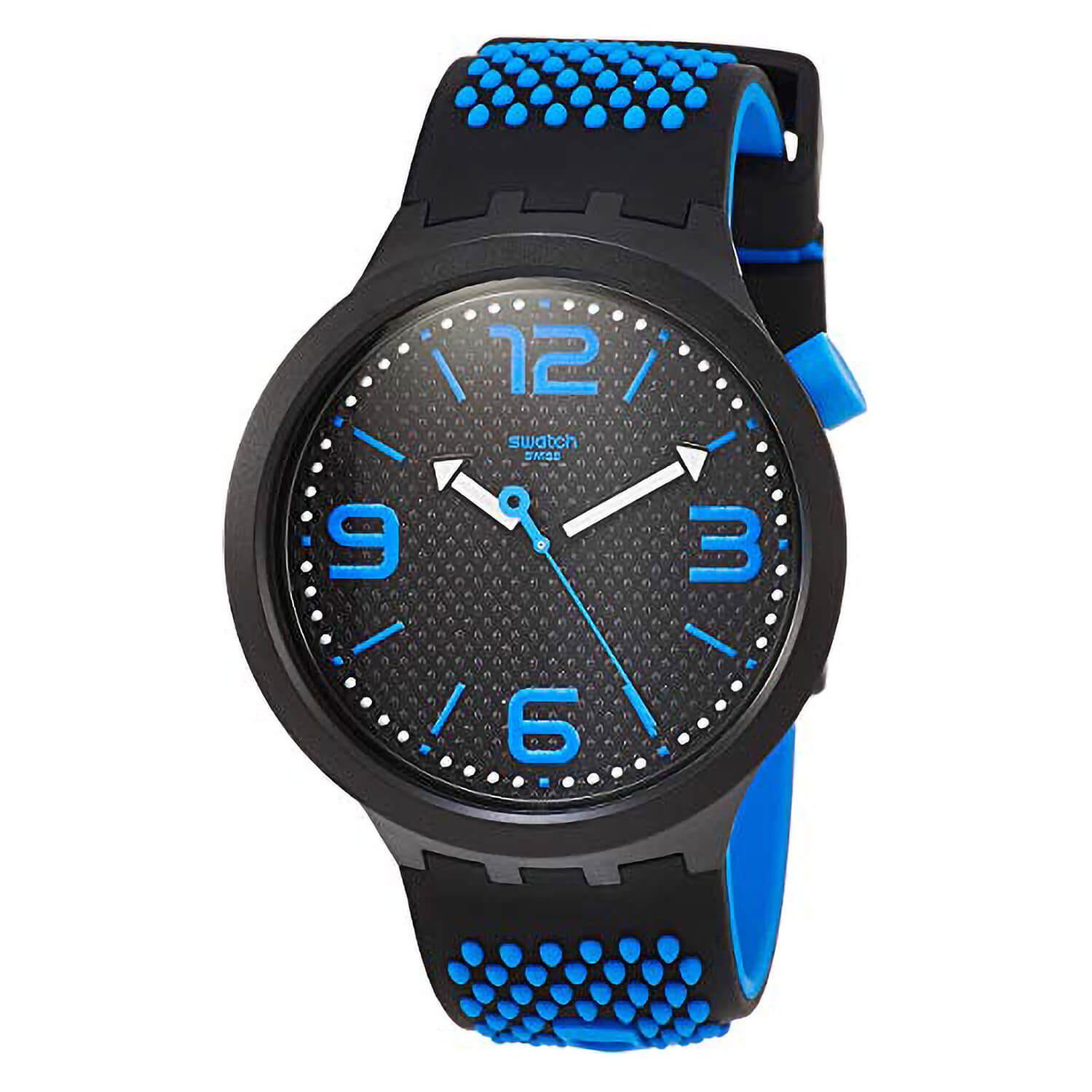 Swatch Unisex Quartz Black & Blue Strap Dial Watch