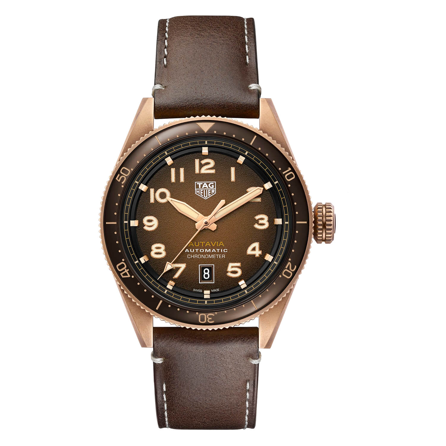 TAG Heuer Autavia Automatic Brown Dial Brown Strap 42mm Mens Watch