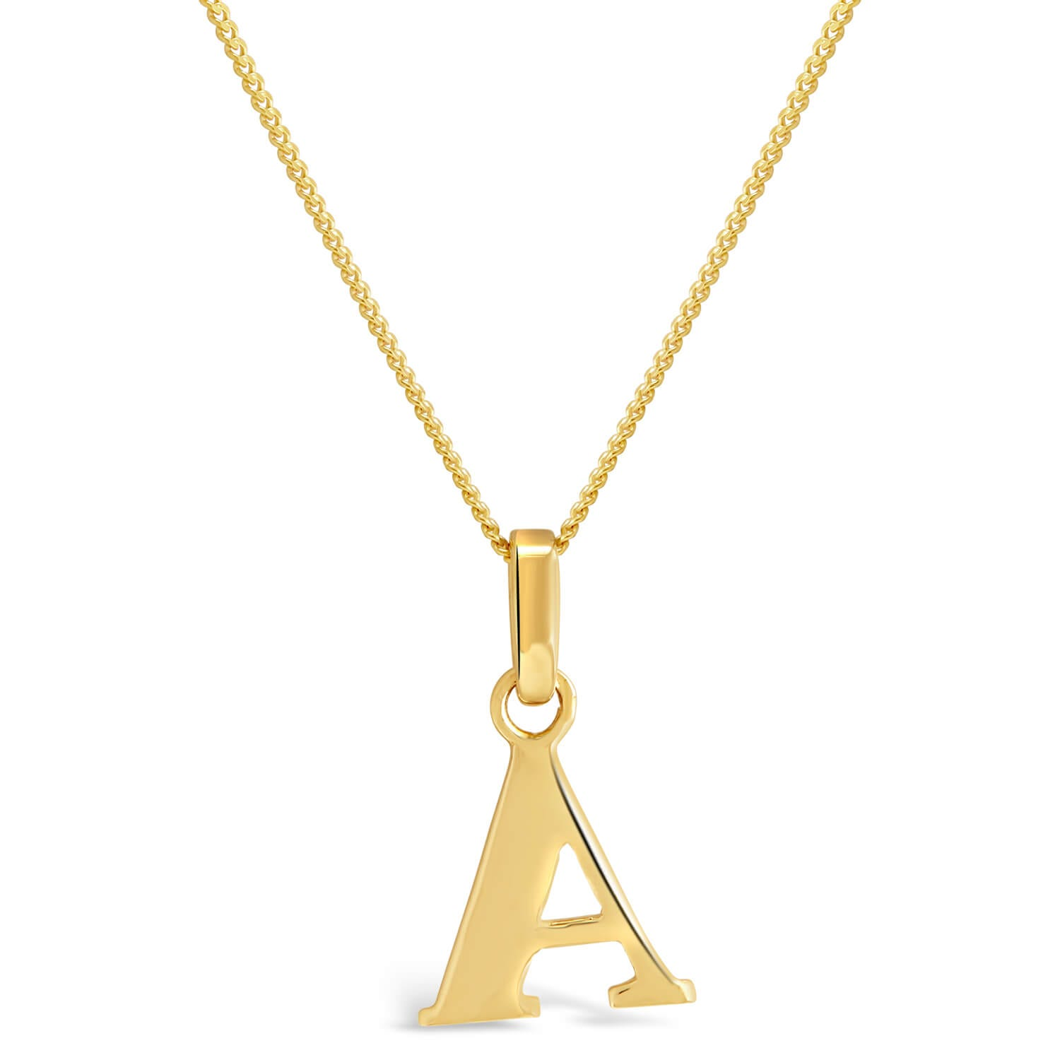 "9ct Yellow Gold Plain Initial A Pendant With 16-18"" Chain"