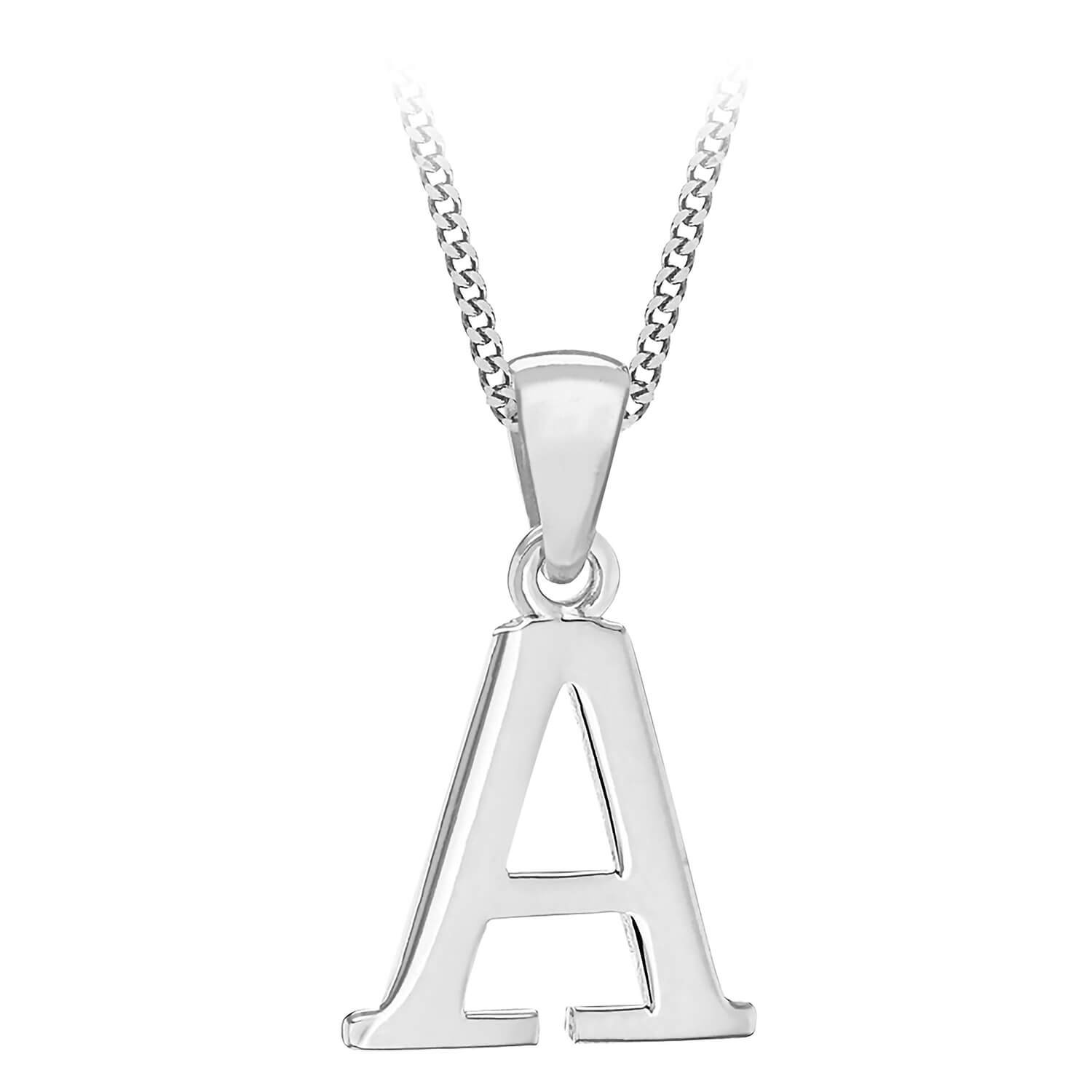 Sterling Silver Block Initial A Pendant