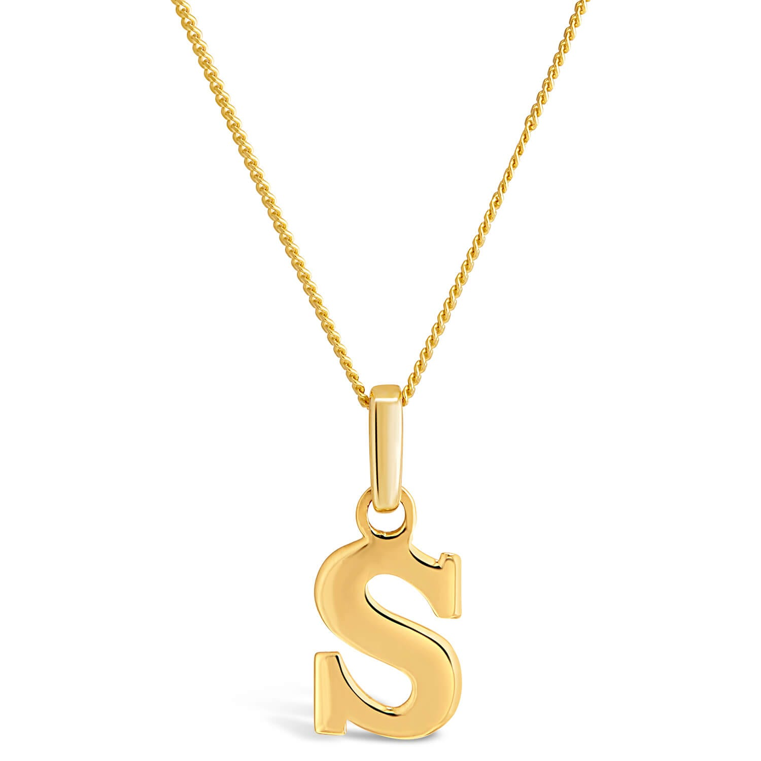 "9ct Yellow Gold Plain Initial S Pendant With 16-18"" Chain"