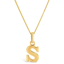 """9ct Yellow Gold Plain Initial S Pendant With 16-18"""" Chain (Special Order)"""