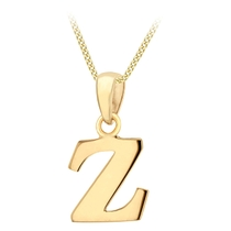 """9ct Yellow Gold Plain Initial Z Pendant With 16-18"""" Chain (Special Order)"""