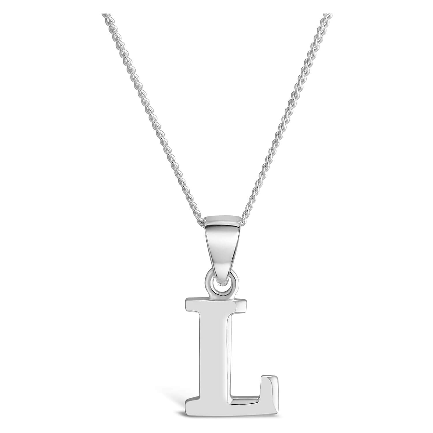Sterling Silver Block Initial L Pendant