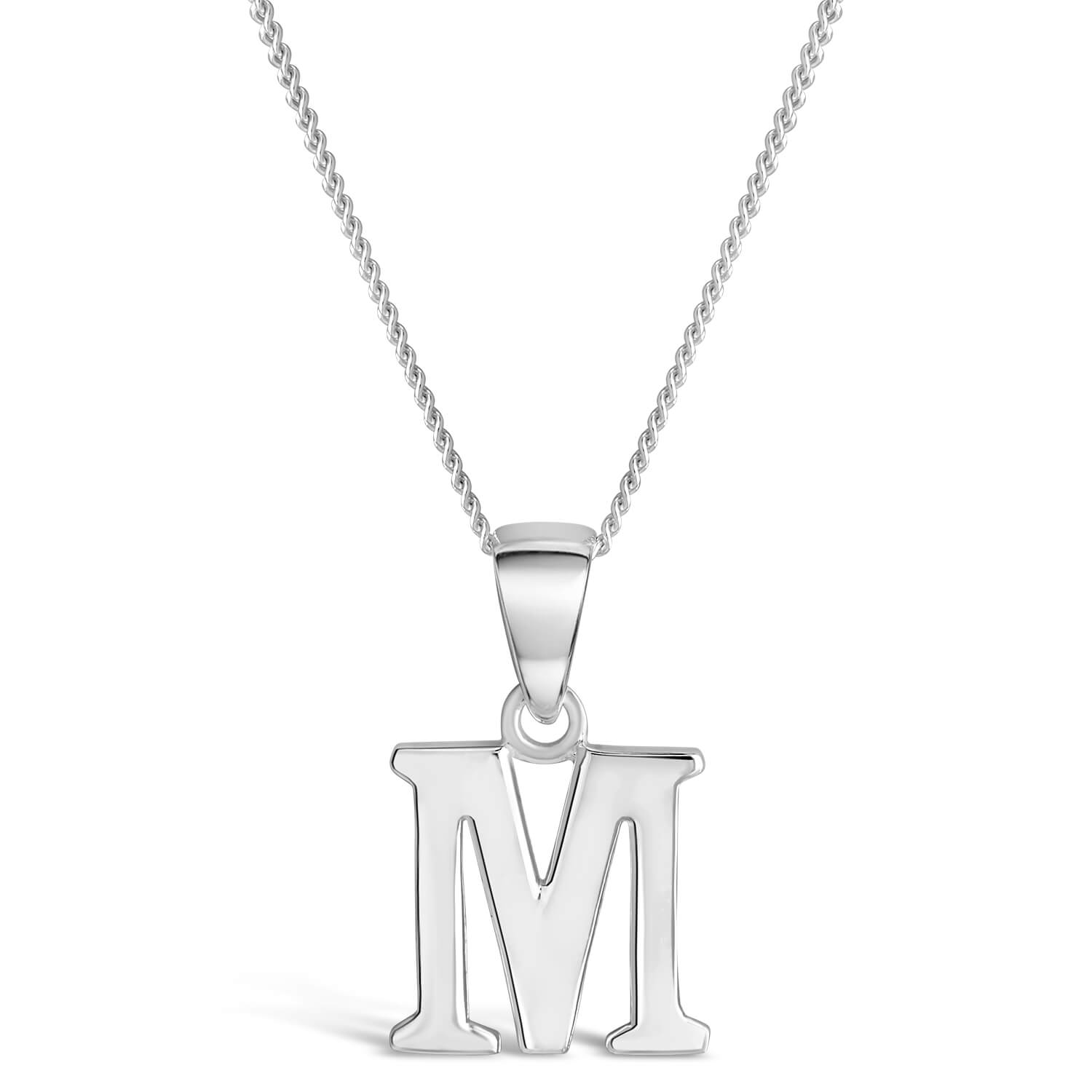 Sterling Silver Block Initial M Pendant