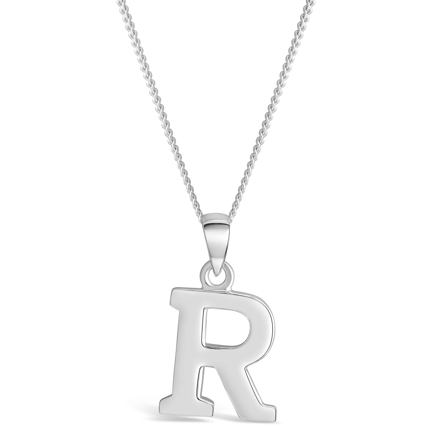 Sterling Silver Block Initial R  Pendant