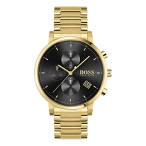 H.BOSS INTEGRITY GOLD PLATED CHRONO BLACK DIAL DATE FEATURE