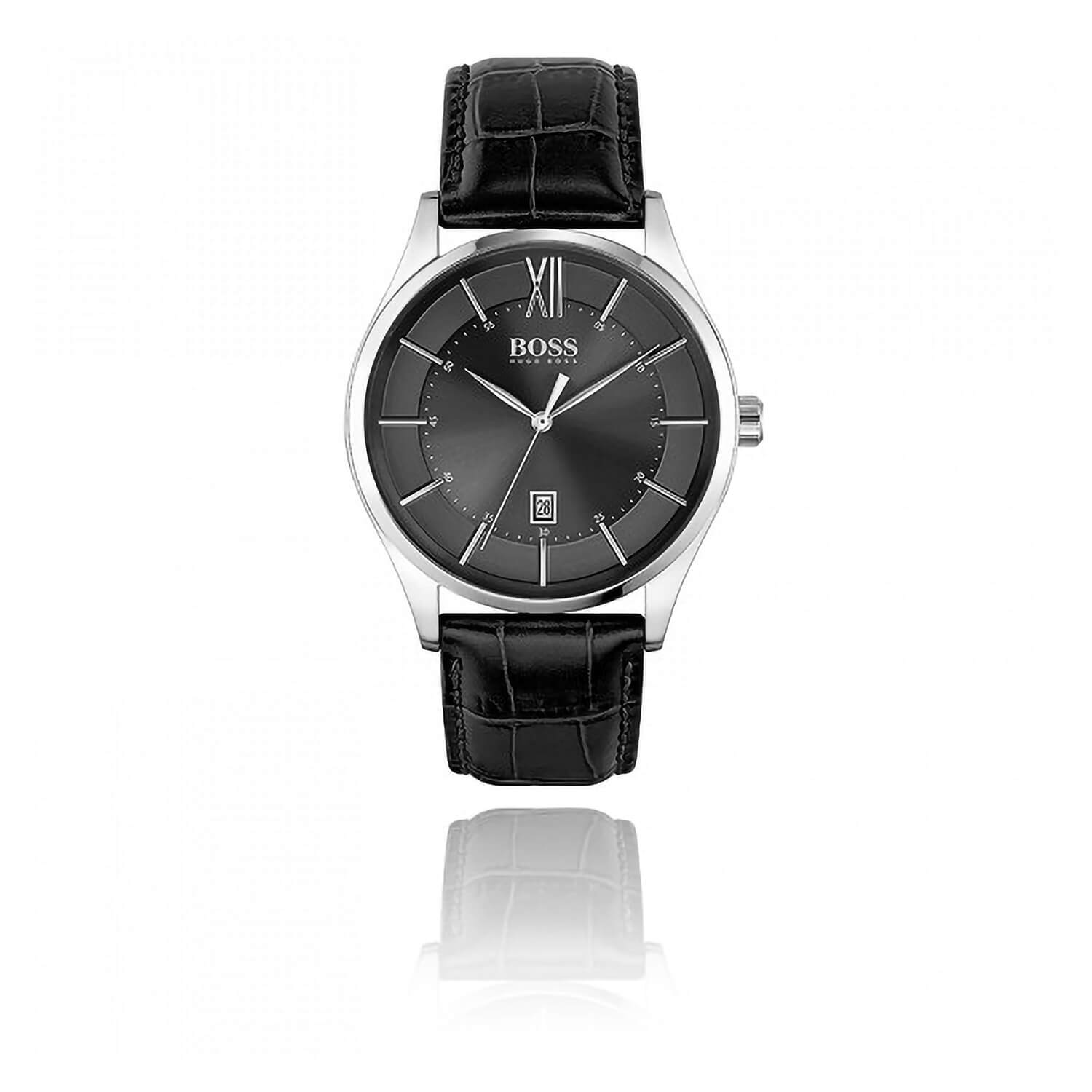 H.BOSS DISTINCTION BLACK DATE FEATURE DIAL BLACK LEATHER STRAP