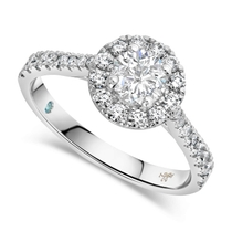 Kathy De Stafford 18ct White Gold ''Blossom'' Round Halo Diamond Shoulders 0.90ct Ring