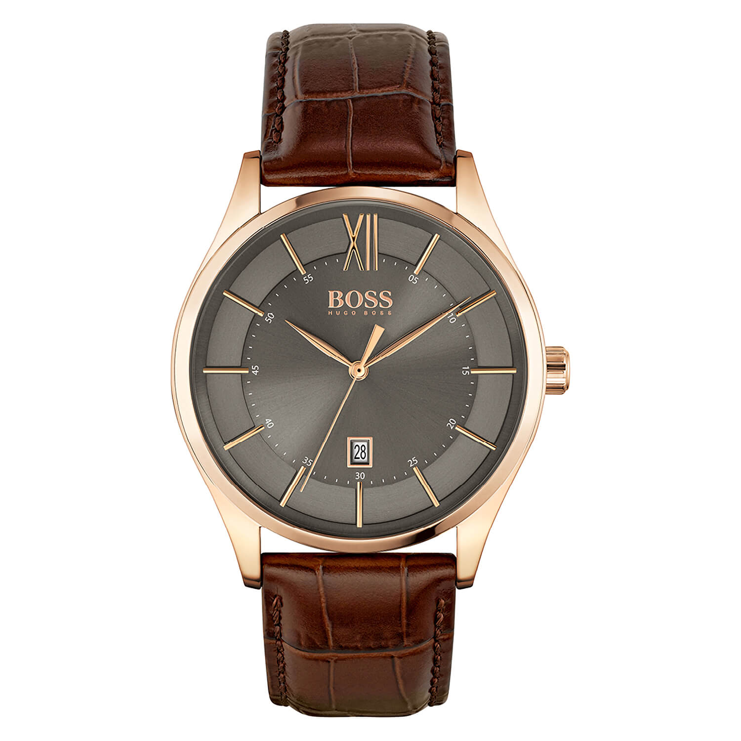 H.BOSS DISTINCTION GREY DATE FEATURE DIAL BROWN LEATHER STRAP