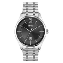 H.BOSS DISTINCTION BLACK DATE FEATURE DIAL STAINLESS STEEL BRACELET