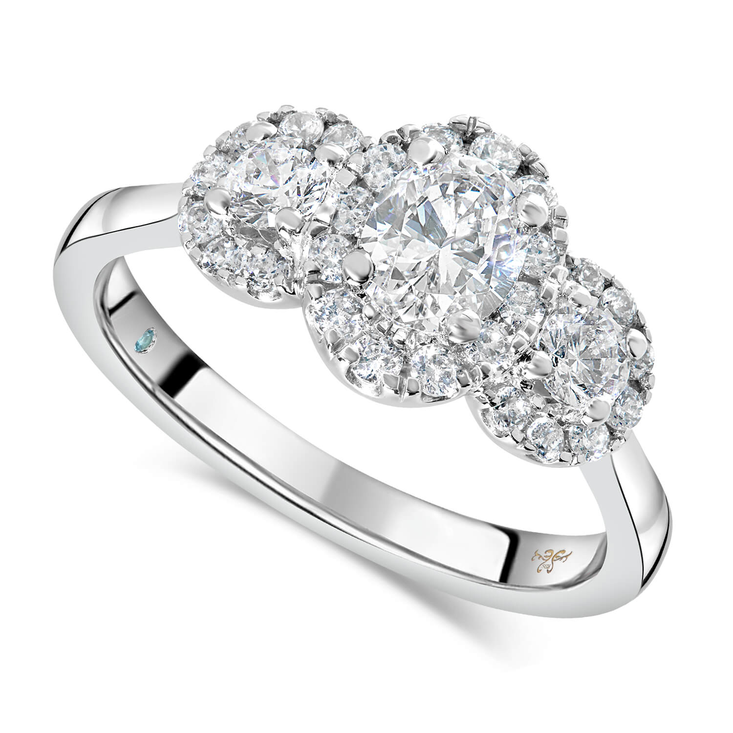 Kathy De Stafford 18ct White Gold ''Ivy'' 3 Stone Oval Center Halo 0.85ct Ring