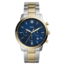 Fossil Neutra 44mm Blue Dial Chronograph Steel Yellow Gold PVD Case Bracelet Watch