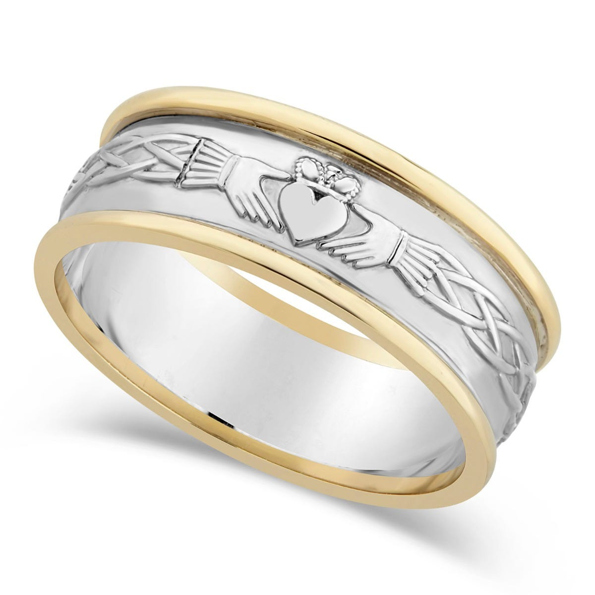 Sterling Silver and Gold Claddagh Mens Wedding Ring