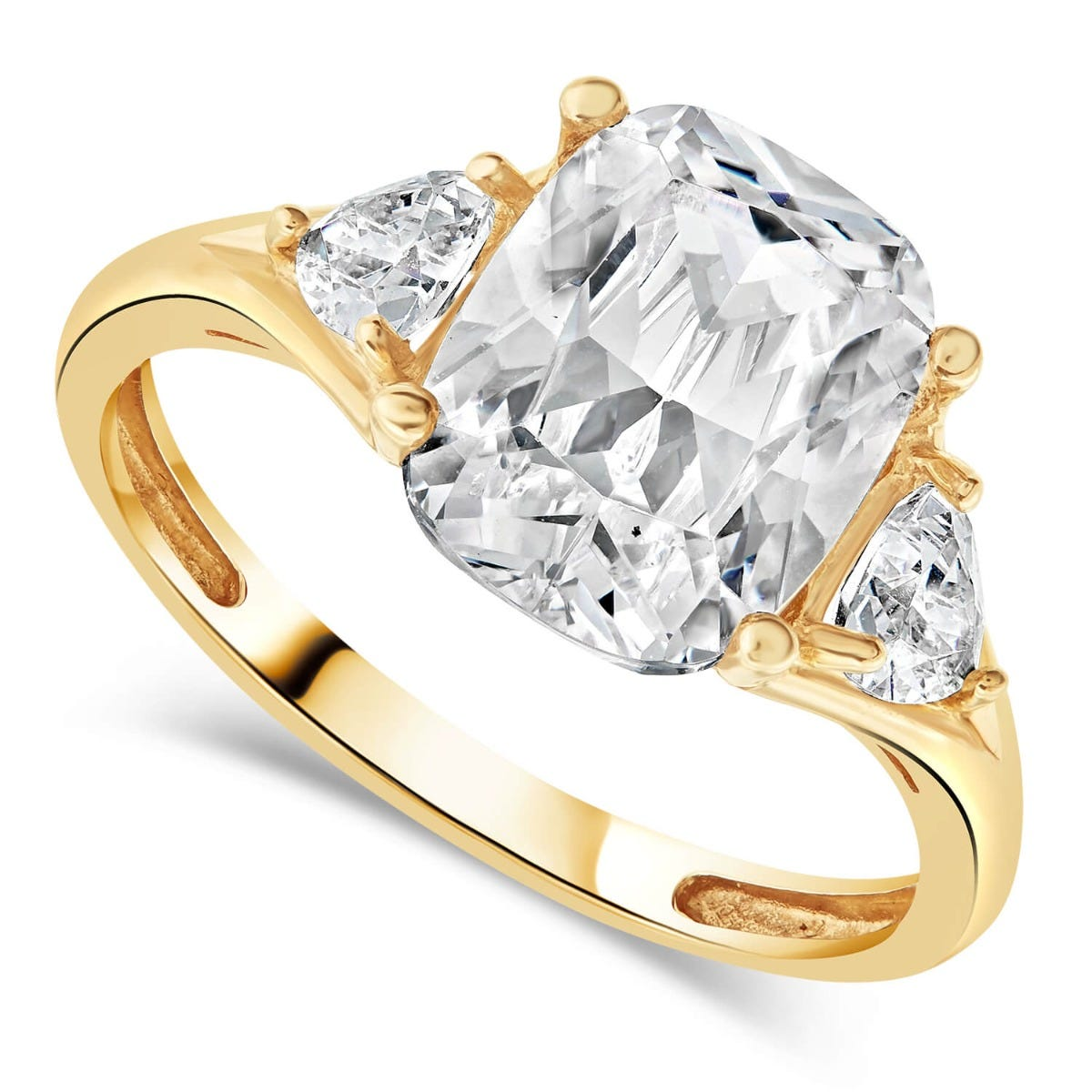 9ct Yellow Gold Cubic Zirconia Cushion & Sides Ring