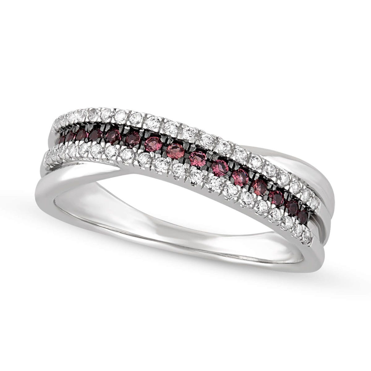 9ct White Gold Ruby And Cubic Zirconia 3 Row Crossover Ladies Ring