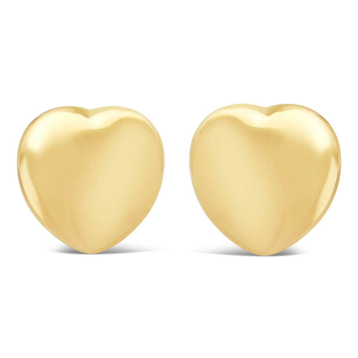 9ct Yellow Gold Polished Plain Heart Stud Earrings