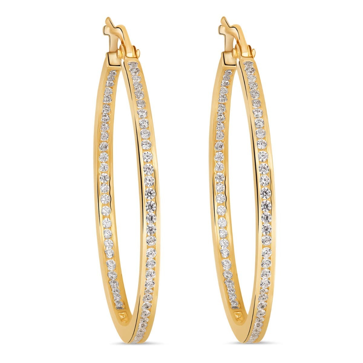 9ct Yellow Gold Cubic Zirconia Inside & Out Channel Hoop Earrings
