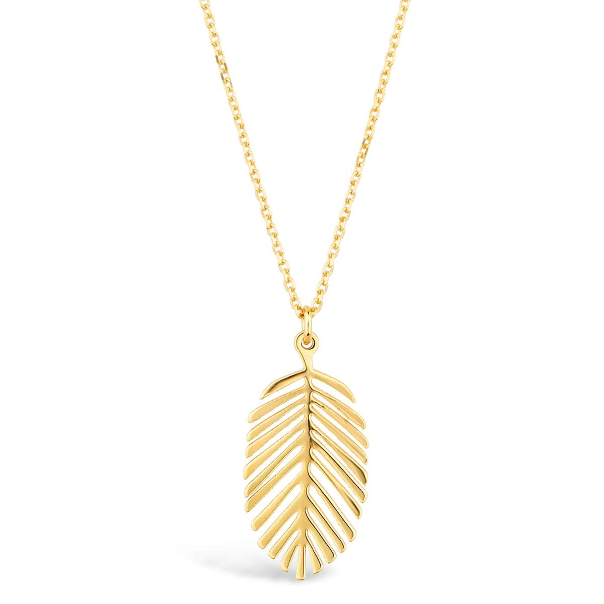 9ct Yellow Gold Polished Feather Pendant