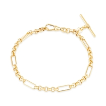 9ct Yellow Gold Belcher Albert T-Bar Bracelet