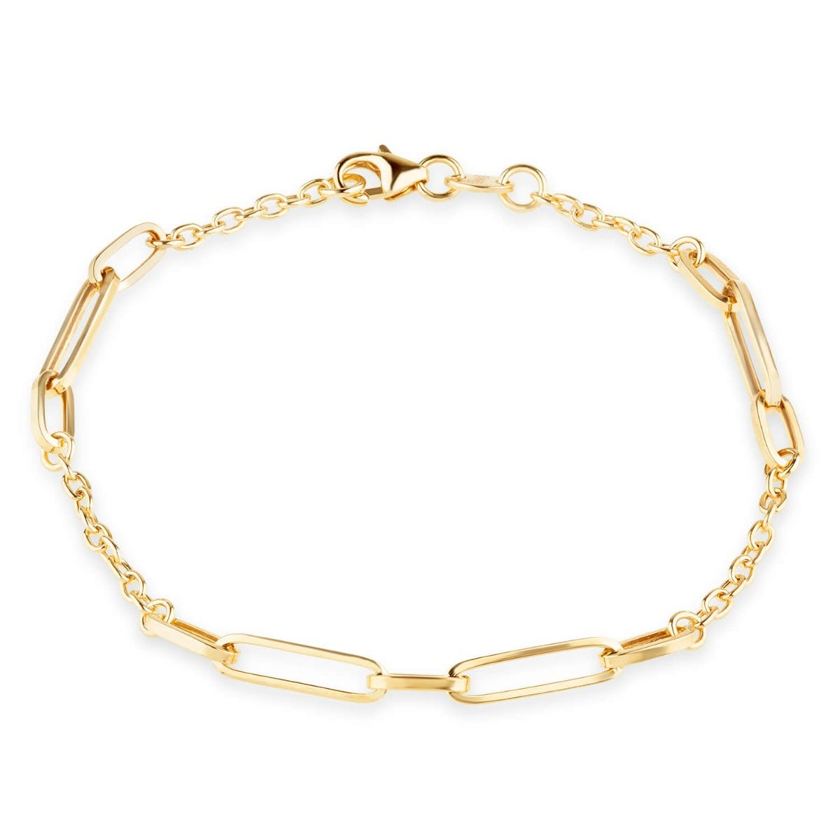 9ct Yellow Gold Long Open Link Stations Ladies Bracelet