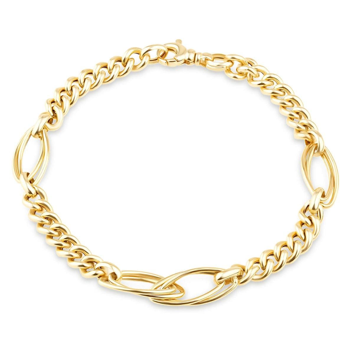 9ct Yellow Gold Fancy Curb Double Oval Link Ladies Bracelet