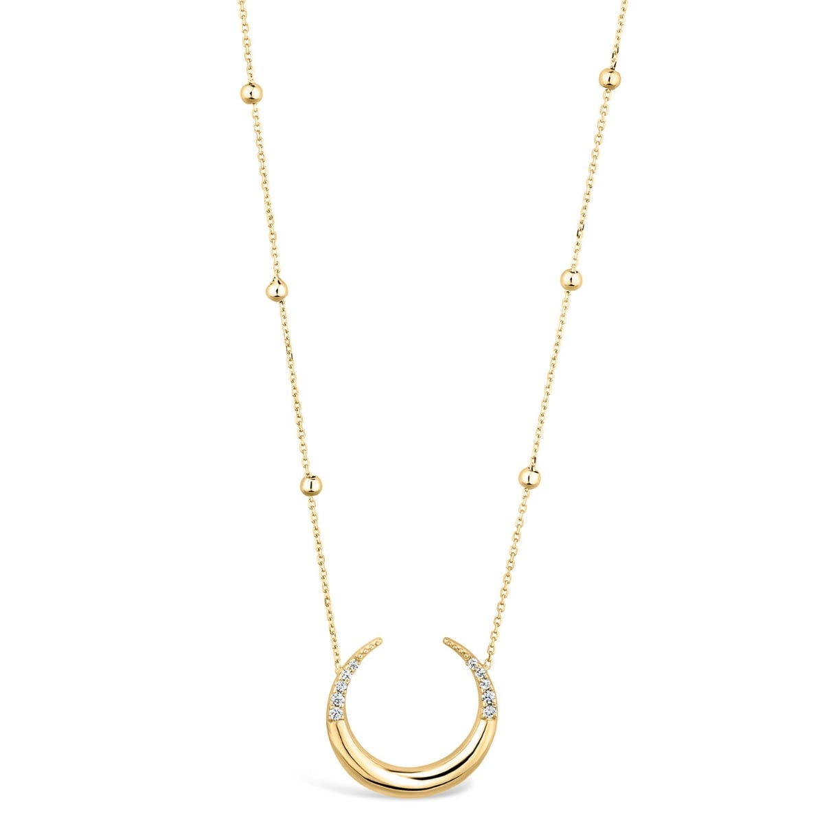 Ladies 9ct Gold Stone Set Horseshoe Beaded Chain Necklace