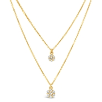 9ct Yellow Gold Cubic Zirconia Cluster Double Chain Necklet