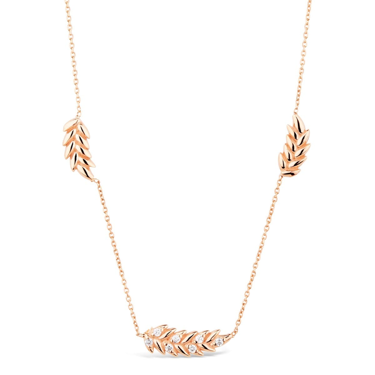 9ct Rose Gold Cubic Zirconia Set Feather Ladies' Necklet